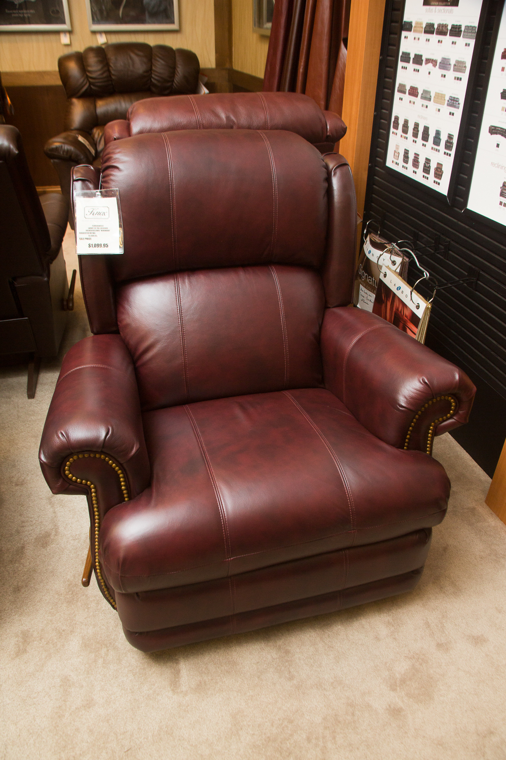 """Kirkwood"" Lazboy chair shown in the harmony leather. Also comes in brown leather at the same price."