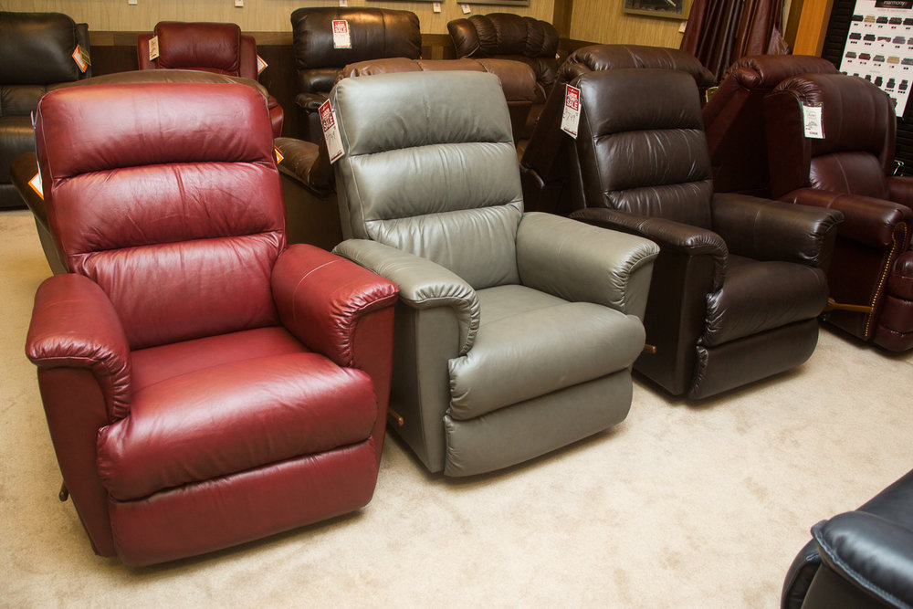 """Tripoli"" Lazboy chairs shown in all three ""harmony"" leather choices"