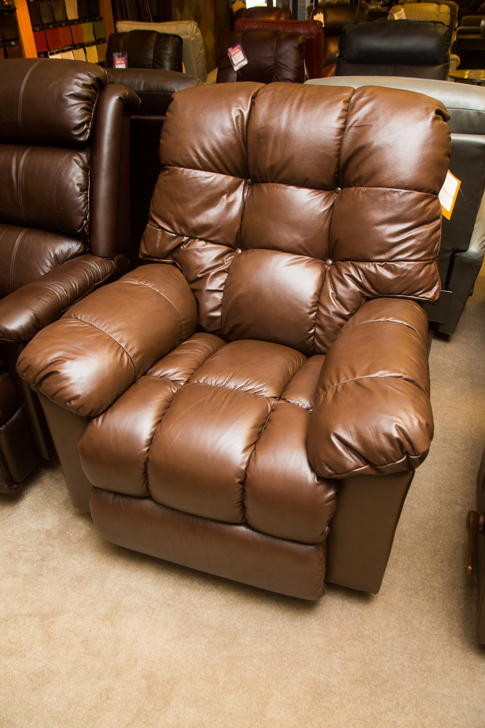 """Gibson"" Lazboy Chair shown in brown leather"