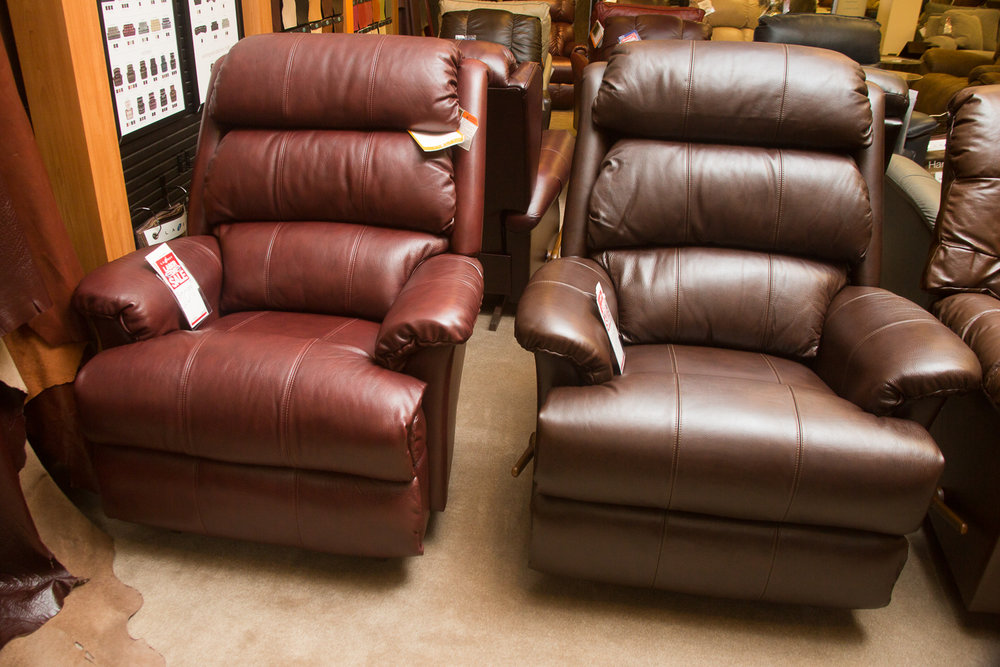 """Astor"" Lazboy chairs shown in both ""harmony"" leather choices"