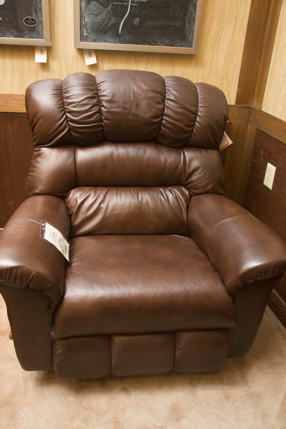 "Lazboy ""Crandell"" ""Big Man"" chair shown in one ""harmony"" leather choice. It also comes in maroon leather at the same price."