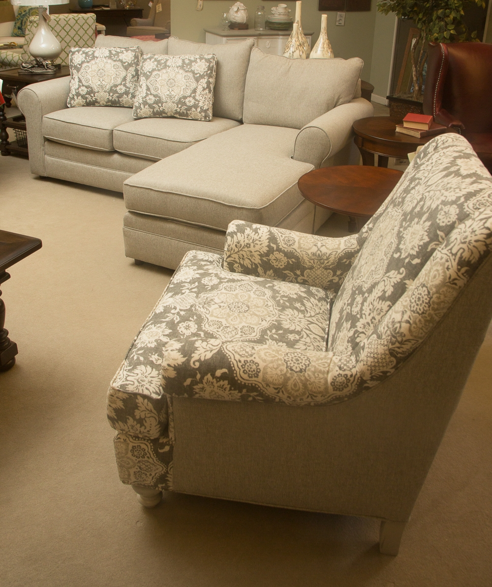 Craftmaster  Sofa with Chaise pictured with stationary chair