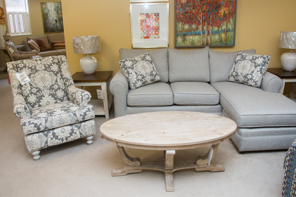 Craftmaster Sofa w/Chaise and matching chair. The chaise can be used on the left or right side.