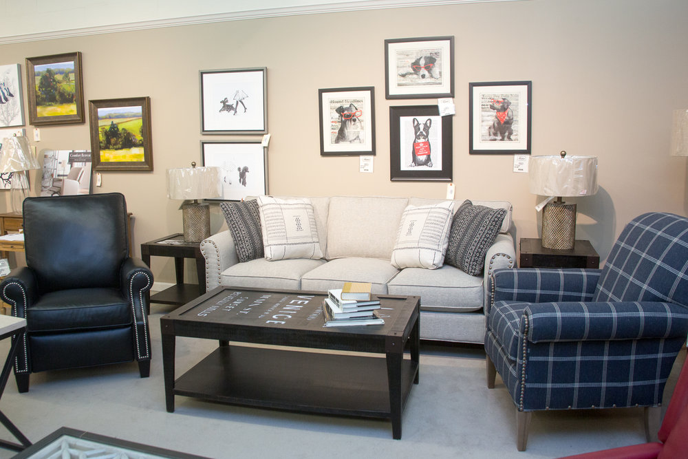 Craftmaster Sofa and Chair combo. Black chair pictured is a Comfort Design Push-Back Recliner