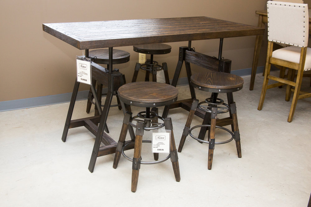 Liberty Counter/Regular Adjustable Height Table with 4 Stools