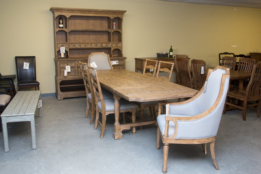 Magnussen Table with 4 chairs and Host/Hostess Chairs and matching Credenza/Hutch.