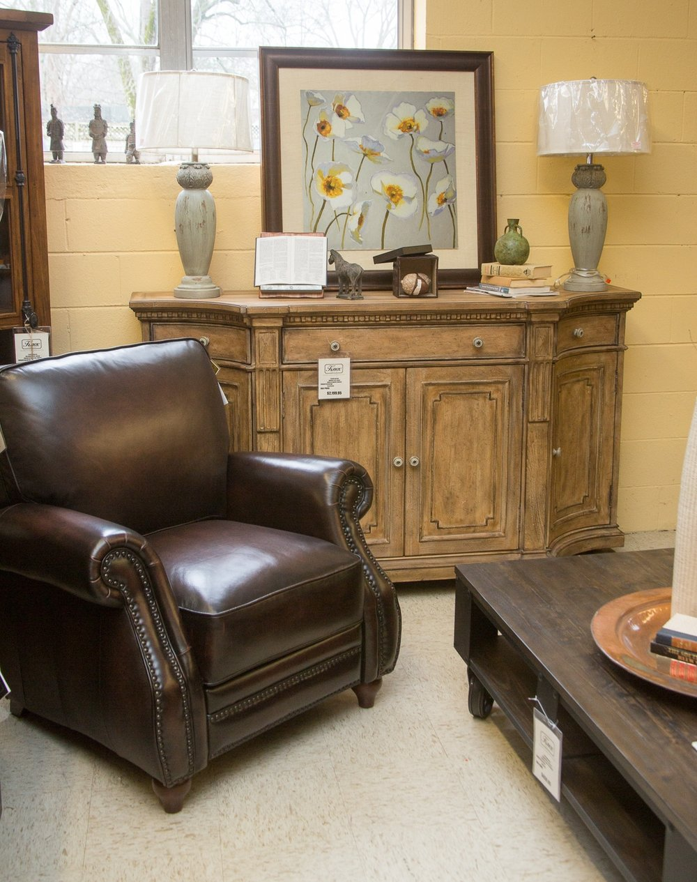 Hooker Sideboard with Craftmaster Pushback Recliner