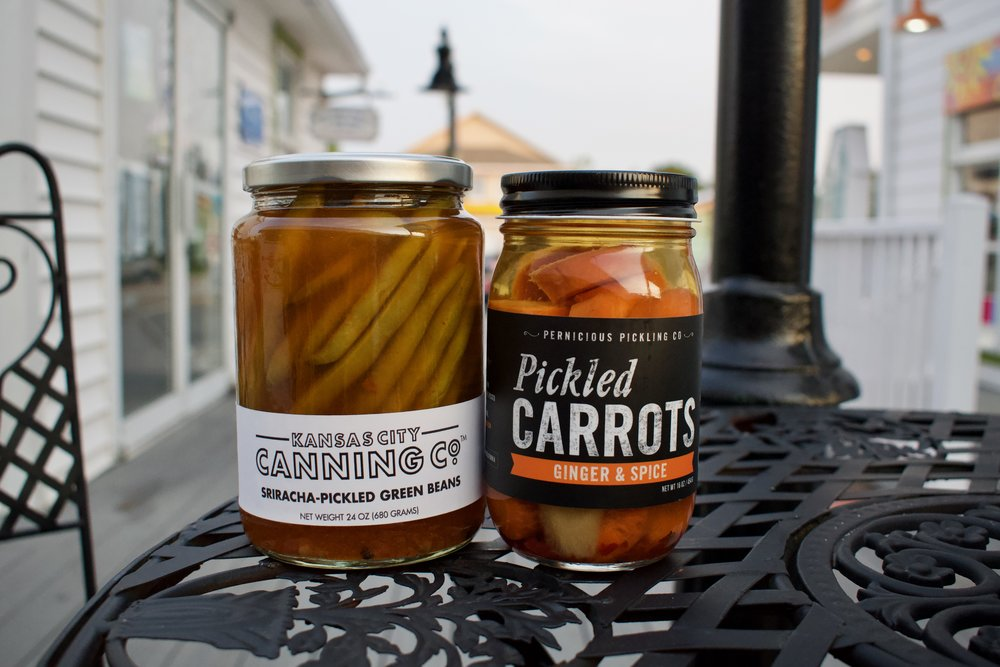 10. Kansas City Canning co. Sriracha-pickled green beans and Pernicious Pickling co. Pickled Carrots in ginger & spice