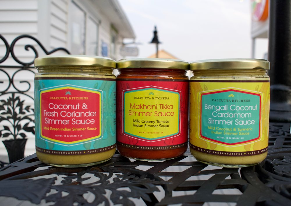13. Calcutta Kitchens Coconut & Fresh Coriander, Makhani Tikka, and Bengali Coconut Cardamom simmer sauce
