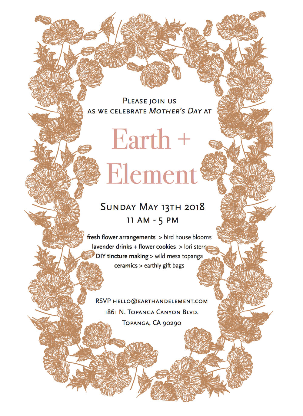 05.01.17 Join us at ceramics shop Earth + Element's Mother's Day event. Meghan of Wild Mesa will have a table set up for you to mix tinctures with the Buddhist deity Tara in mind. Depending where you are at in your life, you can concoct the youthful sensuality of Green Tara or the wise serenity of White Tara. Donation based. The concocting will take place primarily between 11:30 and 1:30p.
