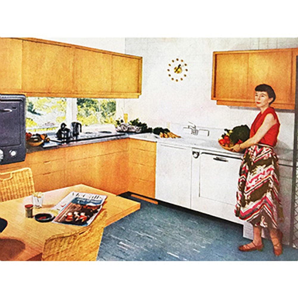 "Mary wins first prize in the ""McCall's Kitchen Contest."" Contestants were required to redesign their own kitchens, submitting highly detailed plans. The two first prize-winners had their kitchens remodeled, down to the dishes, glasses, and silverware they had specified; their kitchens were featured in the July 1952 issue of McCall's magazine, with numerous ""Before"" and ""After"" photos."