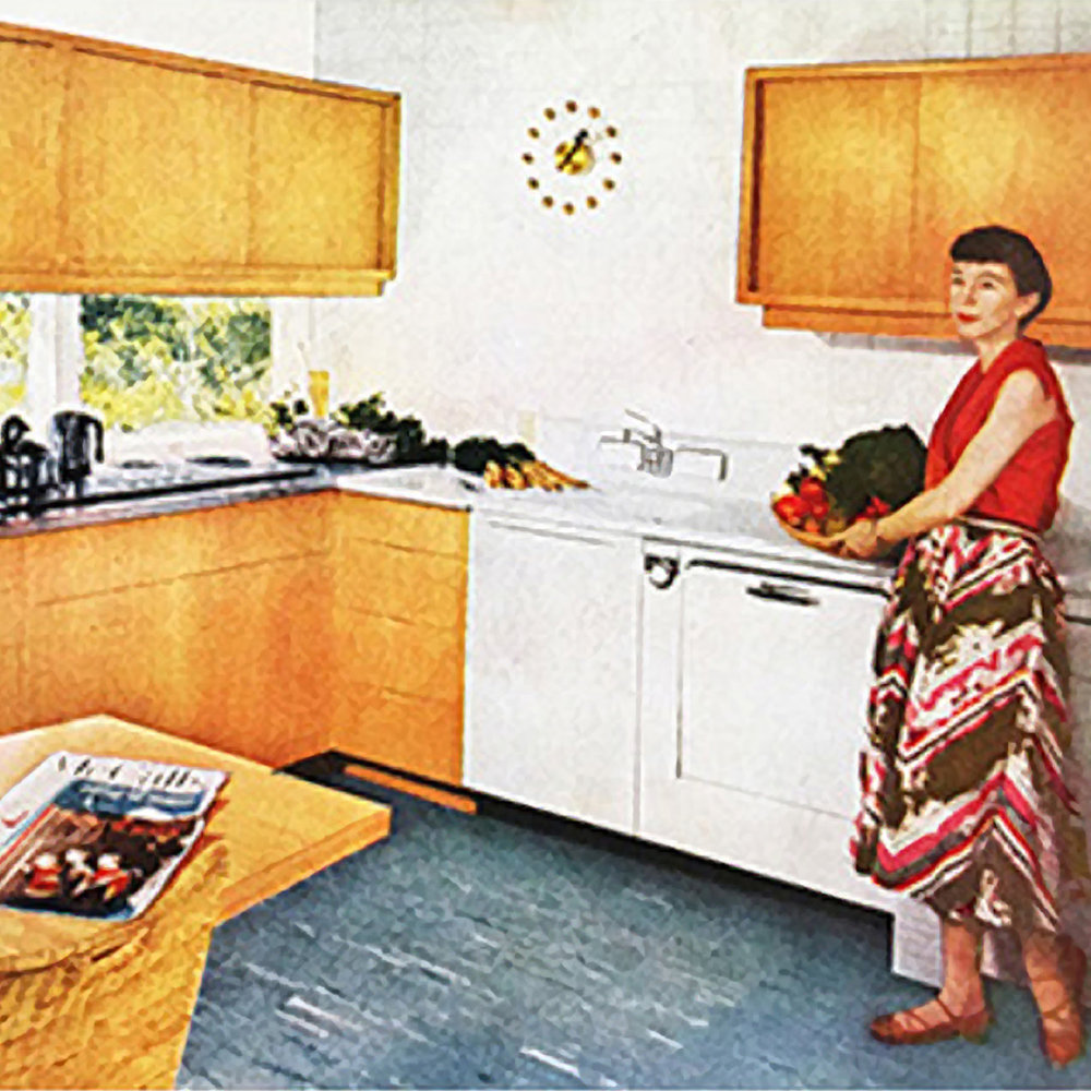"Mary won a first prize in the ""McCall's Kitchen Contest.""  Contestants were required to redesign their own kitchens, submitting highly detailed plans. The two first prize-winners had their kitchens remodeled, down to the dishes, glasses, and silverware they had specified; their kitchens were featured in the July 1952 issue of McCall's magazine, with numerous ""Before"" and ""After"" photos."