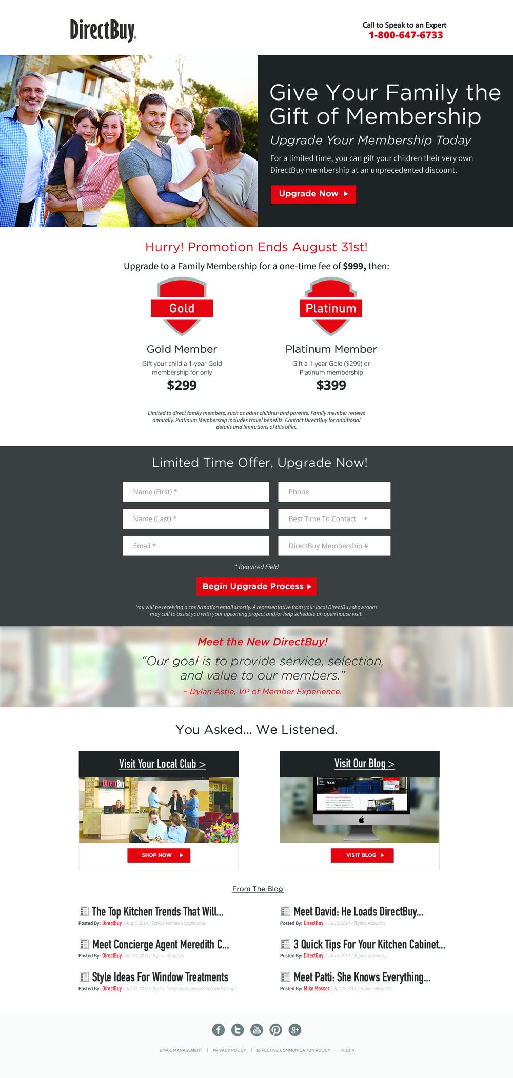 DirectBuy: Family Membership Landing Page