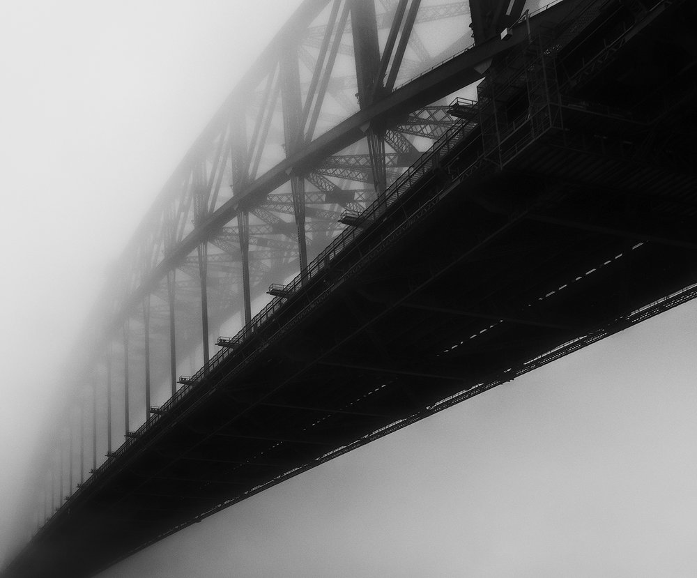 Sydney Harbour Bridge in the fog (eastern face)