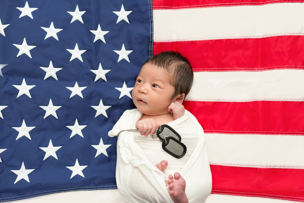 patriotic baby with american flag