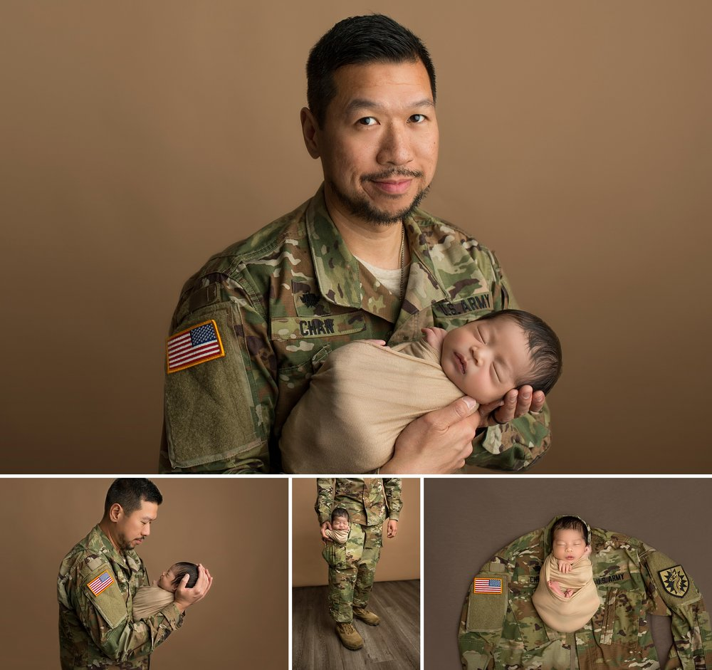 soldier dad and newborn baby