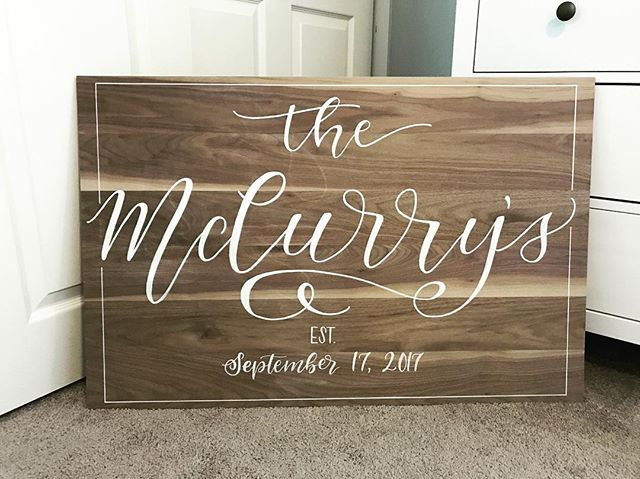 I absolutely loved making this piece for a phenomenal couple! -- #weddings #weddingsign #signage #calligraphy #weddingcalligraphy