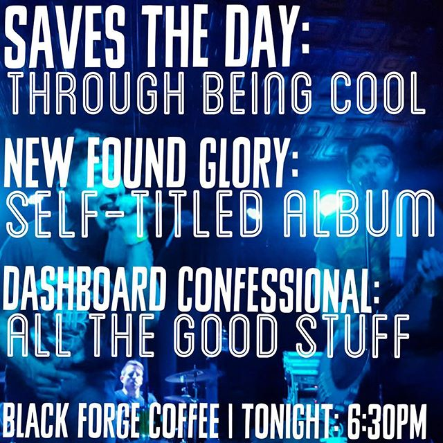 wanna relive 99/00 with all your friends tonight? join us for the festivities 🎈 #1999 #2000 #savestheday #throughbeingcool #newfoundglory #selftitles #dashboardconfessional #album #tribute #party