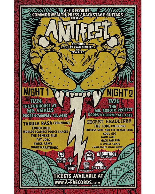 ANTIFEST is set for Nov 24 & 25. See a ton of @afrecords bands, rare reunions and surprises along the way. Proceeds benefit THE PERSAD CENTER and P.A.A.R. We hit on night two, tickets will go quickly. Link ✌️in 👏bio ☝️