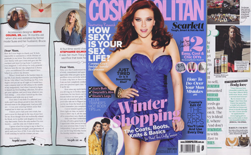 COSMOPOLITAN MAY 2012  Mothers Day Edition: Sophi's Letter to Mum  Envelope Bag Tan | Scale Bag Bronze