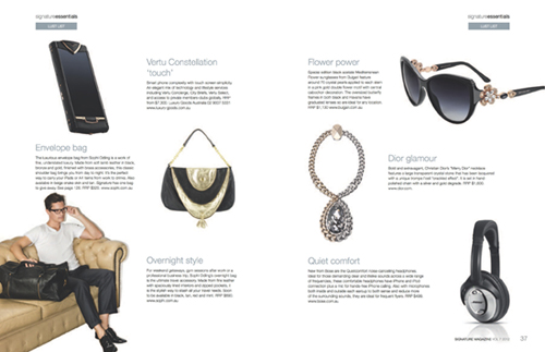 SIGNATURE TRAVEL & LIFESTYLE MAGAZINE VOL 7 2012  Envelope Bag | Black & Gold  Ruben Overnight Bag | Black
