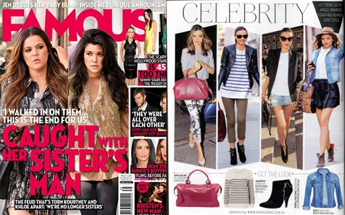 FAMOUS MAGAZINE MARCH 2013  CELEBRITY STYLE - Miranda Kerr  Ruben Overnight Bag | Raspberry