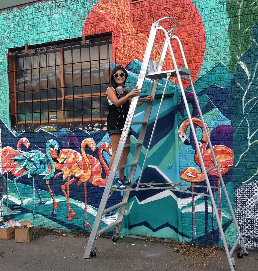 Flamingos Sophi on ladder web.jpg
