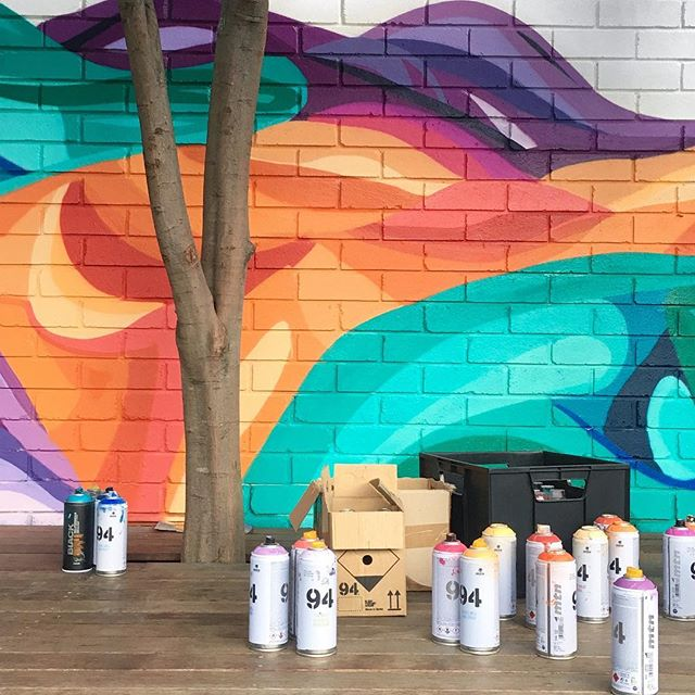 A little Sunday WIP. Bringing some colour into Our Lady Dolours Primary School in Chatswood 🌈 #mural #sophiodling