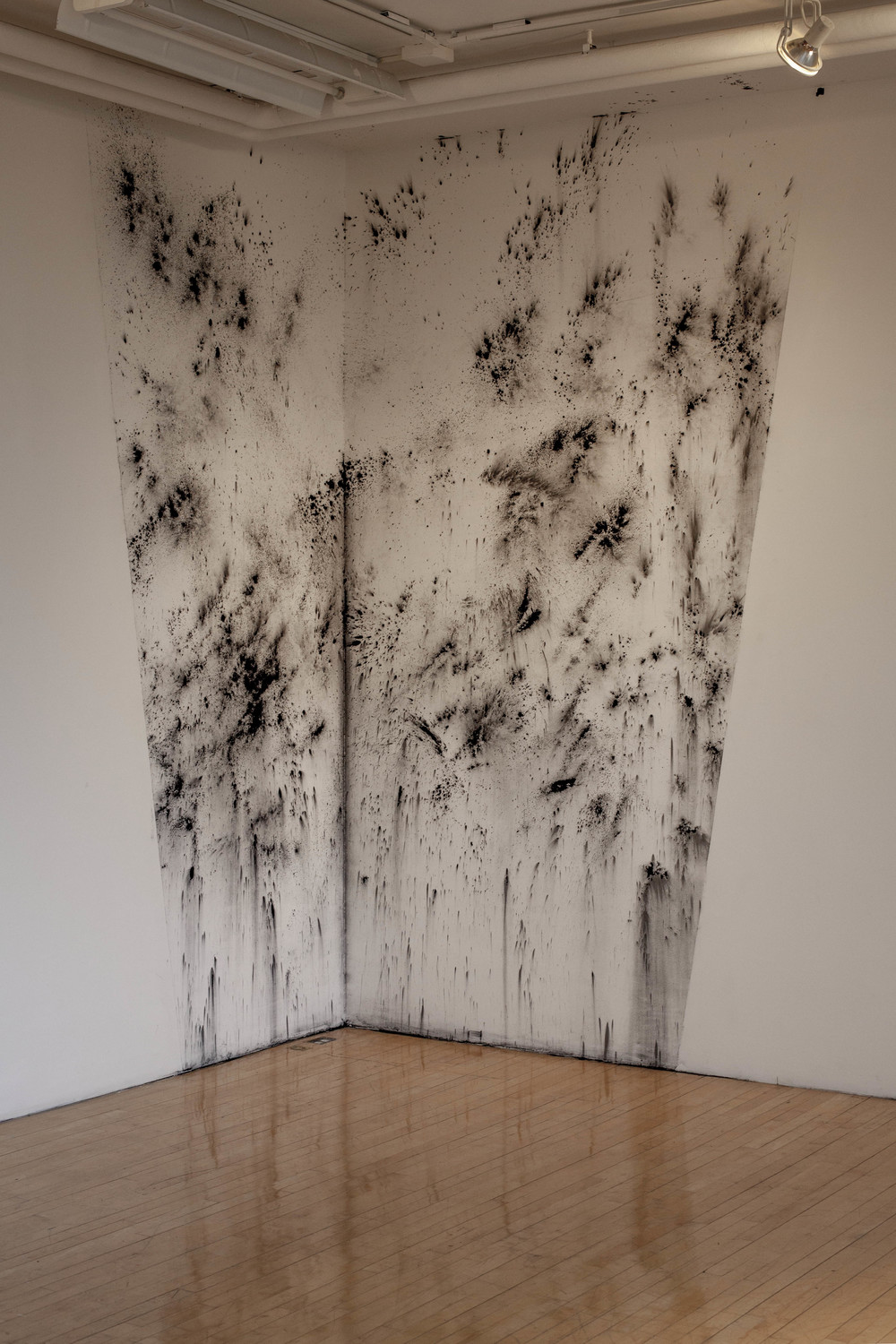 Polvareda (Dust Cloud)  2015, 12 ft x 7 ft, wall drawing, powdered graphite and charcoal.