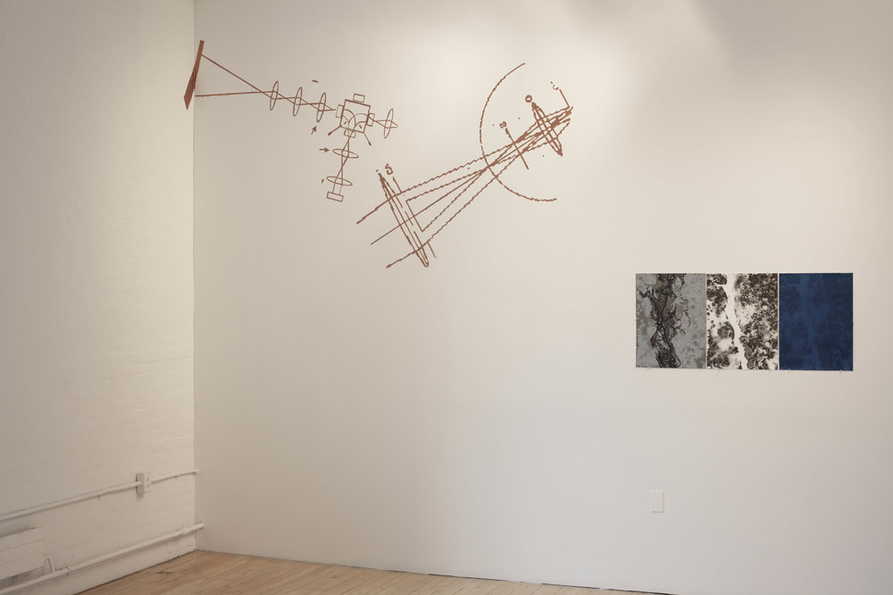 2014, solo exhibition, Tjaden Experimental Gallery, Department of Art, Cornell University.  Left: Copper ink wall drawing.  Right: 'Desbordado' (Flooded) lithographic print triptych.