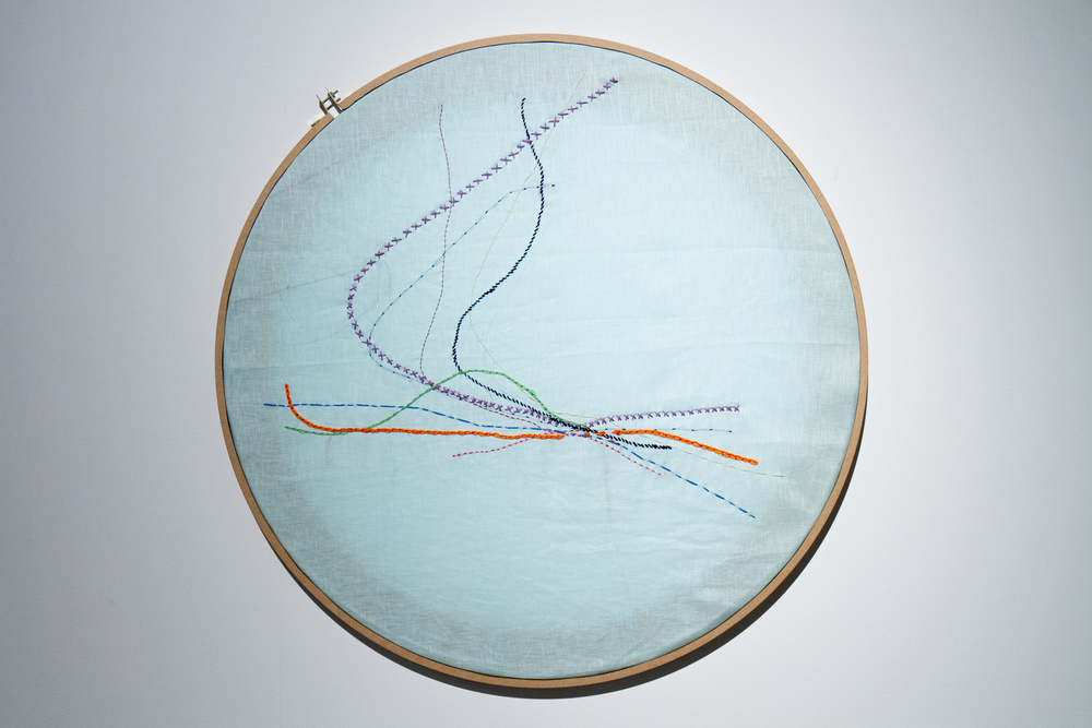 The Unnamed  30 in diameter, embroidered hurricane routes. Wood, silk, cotton thread.