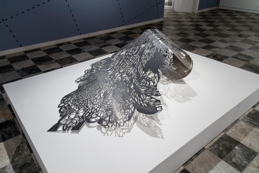 'Marejada' (Surge)  65 in x 52 in x 15 in. Aluminum sculpture.