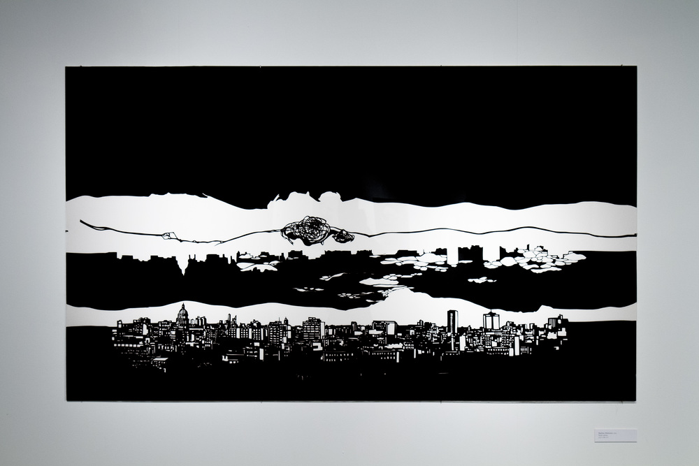 La Habana (Skyline series)  47.5 in x 80.5 in, collage, cut black Torinoko paper.