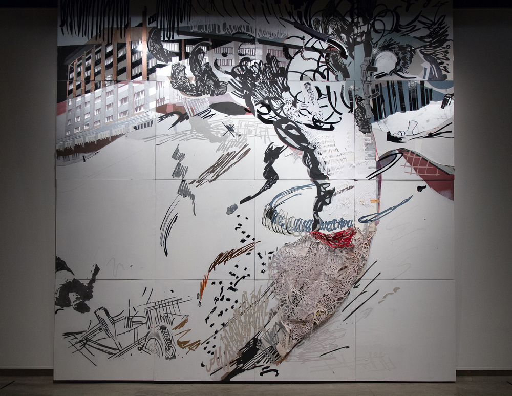 2013, 16 ft x 16 ft (polyptych), cut paper, vinyl, canvas; acrylic, graphite, pastel.