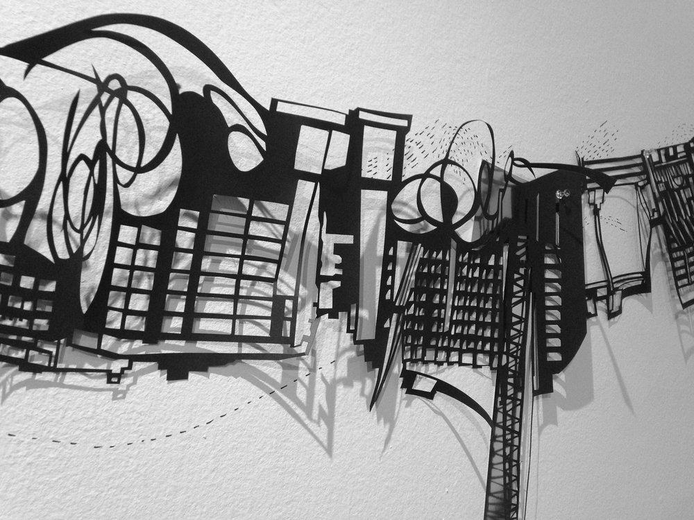 3-5 ft x 32 ft Cut paper, collage, ink and graphite on wall Marble sculpture design by Frances Gallardo, excecuted by Ramón Berríos.