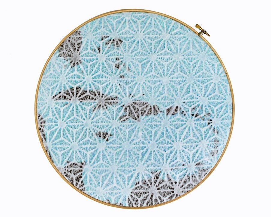 Gabino  2011, 12 in diameter, collage, embroidery hoop.