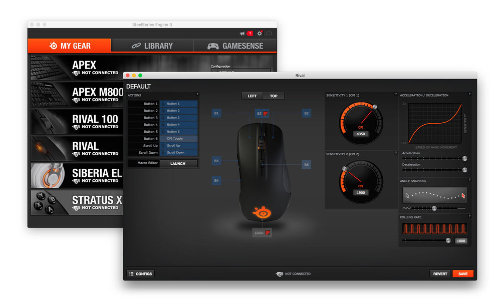 SteelSeries Engine - Device list and Rival Mouse configuration window
