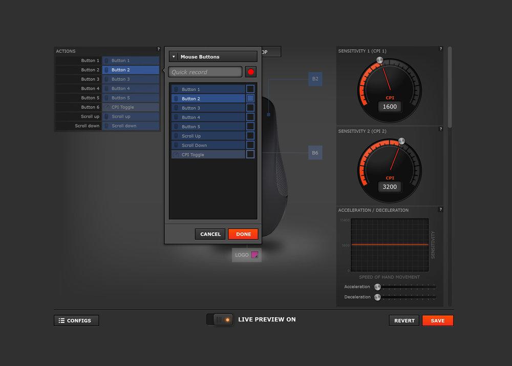 Rival Mouse UI - button customization pop-over menu