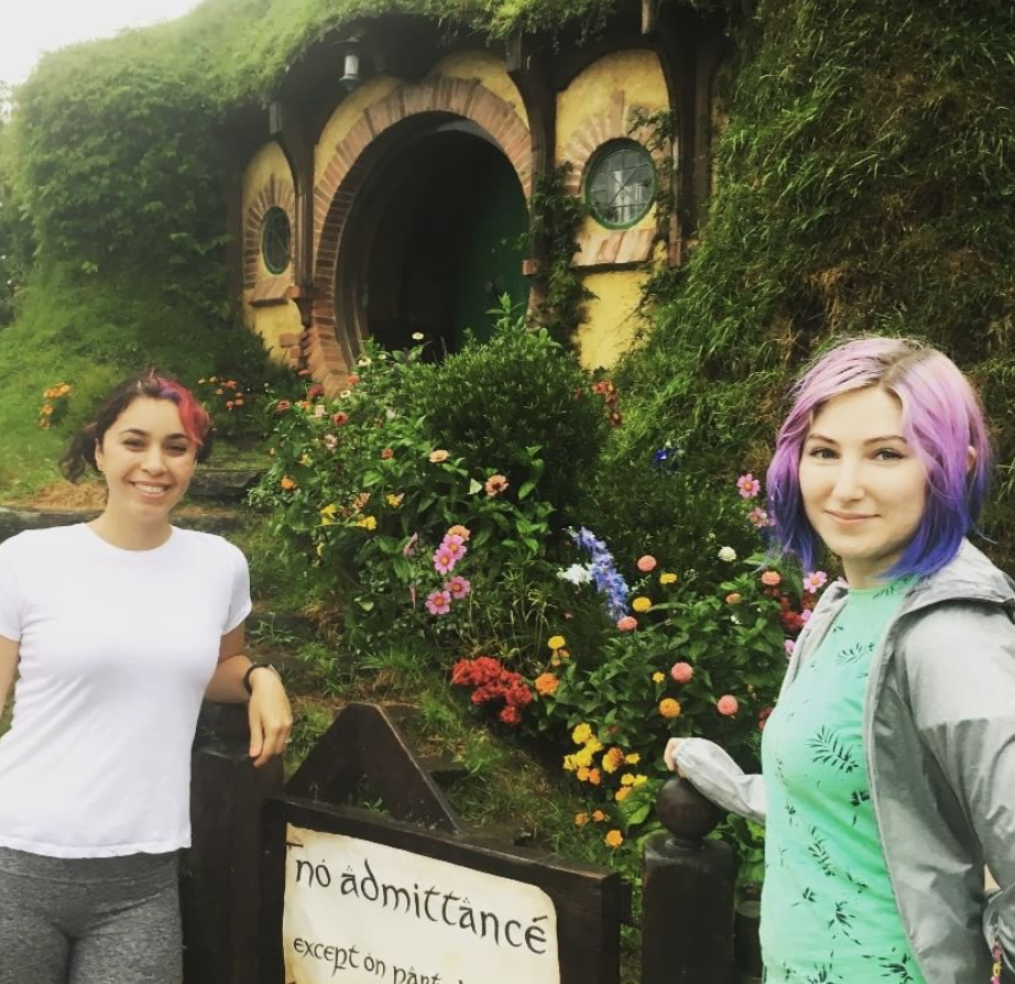 A photo of me (right) visiting Bag End