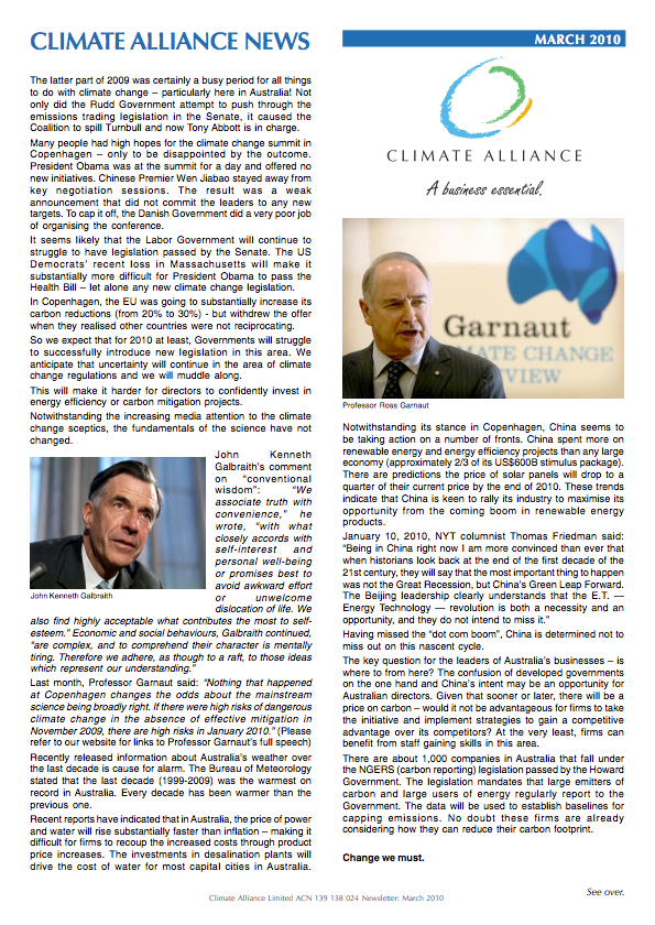 Climate Alliance Newsletter - March 2010