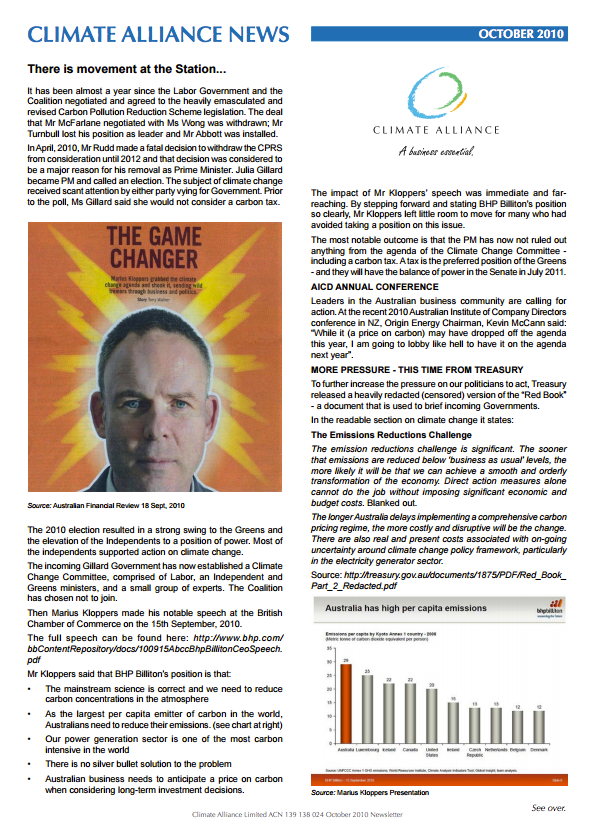 Climate Alliance Newsletter - October 2010
