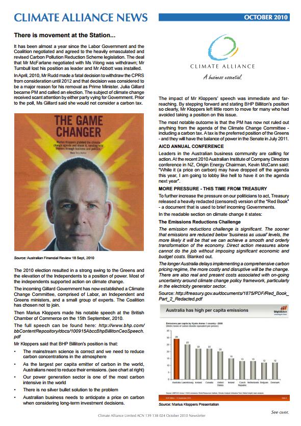 Climate Alliance Newsletter - October 2010
