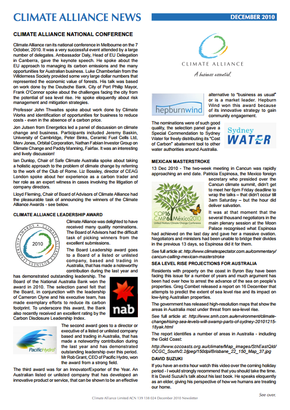 Climate Alliance Newsletter - December 2010