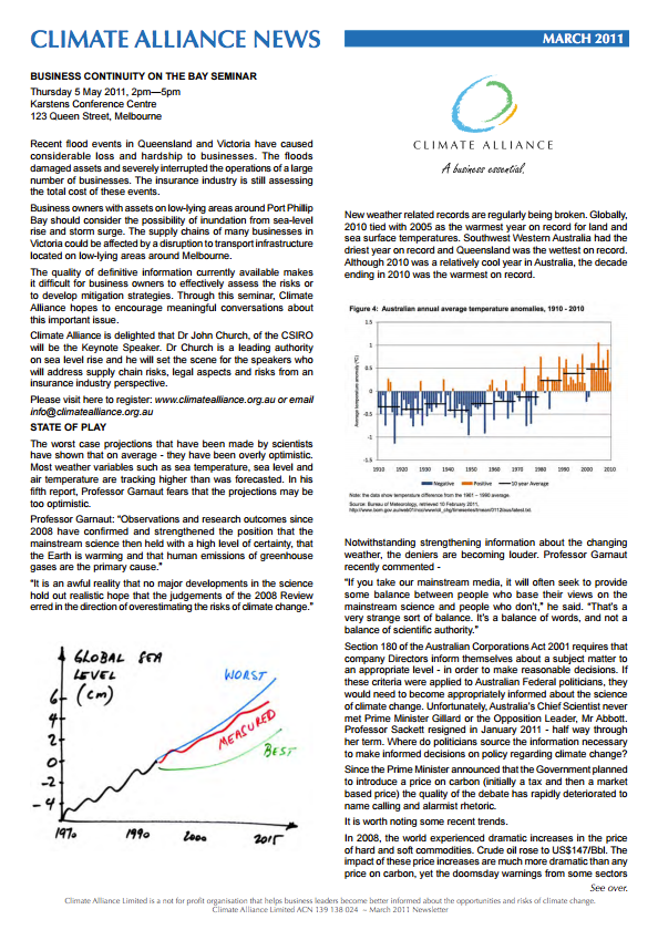Climate Alliance Newsletter - March 2011