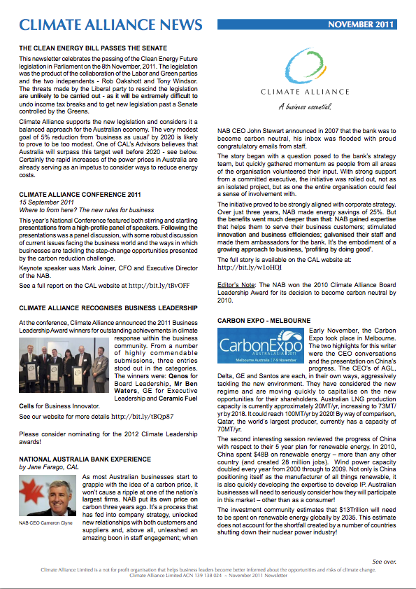 Climate Alliance Newsletter - November 2011