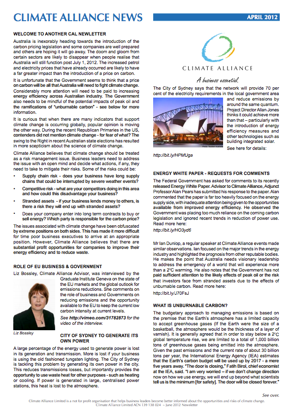 Climate Alliance Newsletter - April 2012