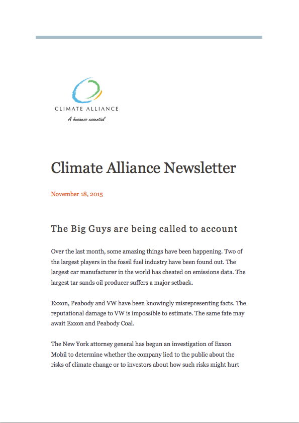 Climate Alliance Newsletter - November 2015