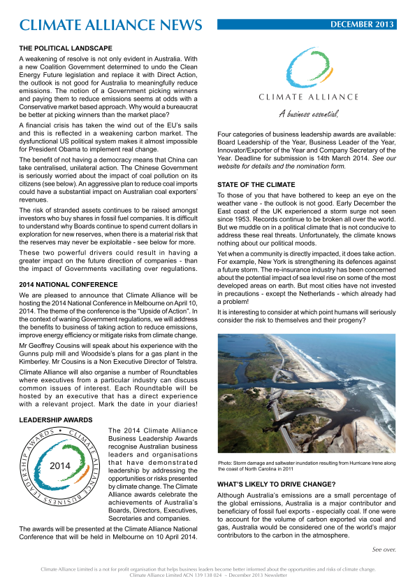 Climate Alliance Newsletter - December 2013