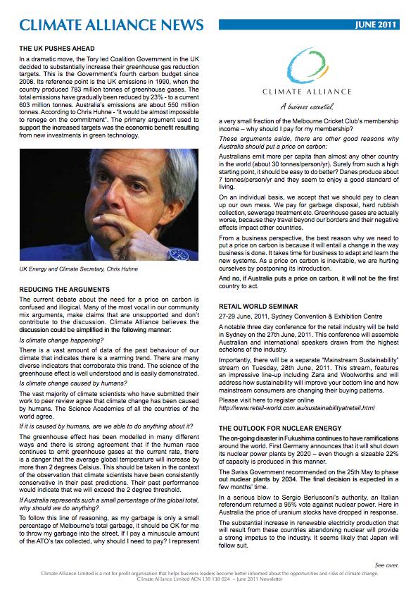 Climate Alliance Newsletter - June 2011