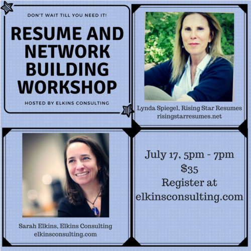 Resume And Network Building Workshop Elkins Consulting